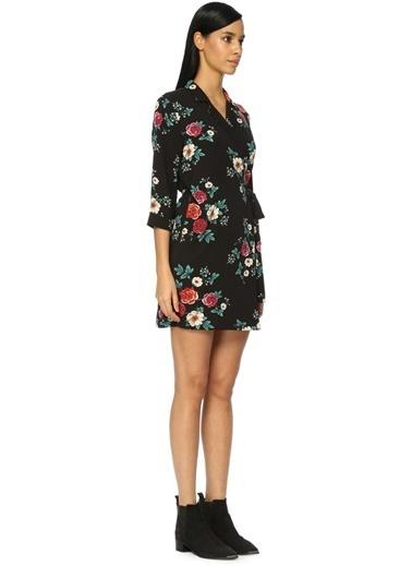 V Yaka Çiçekli Mini Elbise-Glamorous